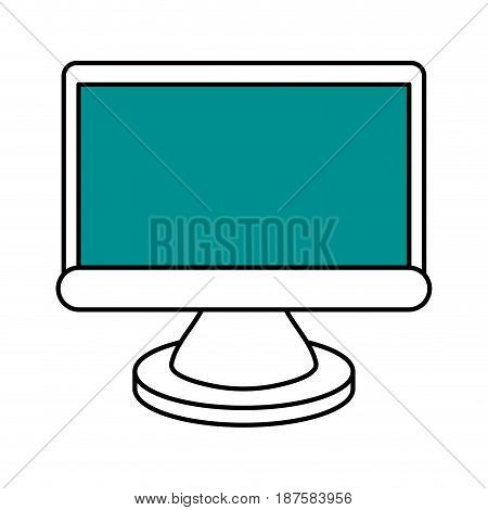 color silhouette image of lcd monitor vector illustration