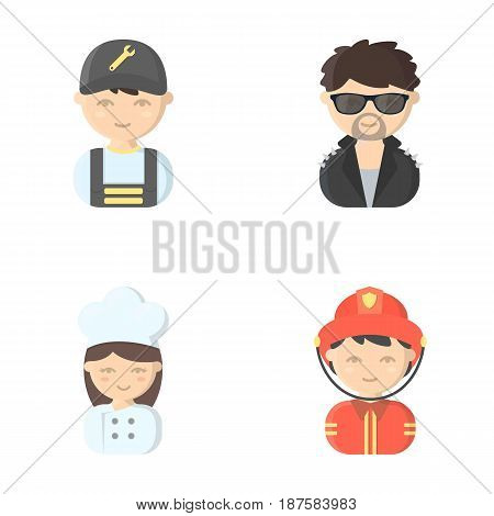 Mechanic, entertainer, cook, fireman.Profession set collection icons in cartoon style vector symbol stock illustration .