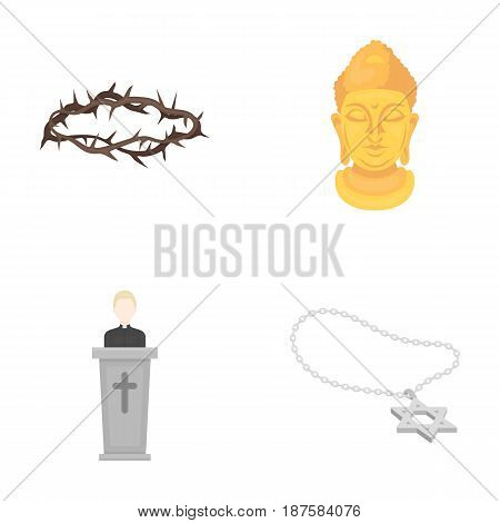 A crown of thorns, a star of David, a priest, a buddha s head. Religion set collection icons in cartoon style vector symbol stock illustration .