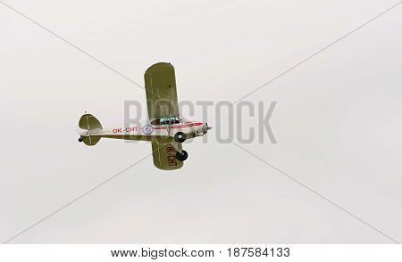 CASLAV CZECH REPUBLIC - MAY 20 2017: Piper PA-18-150 Super Cub in flight during the Open Day at Tactical Air Force Base Caslav on May 20 2017 in Caslav.