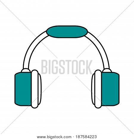 color silhouette image of headset stereo sound vector illustration