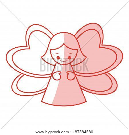 red shading silhouette of decorative angel vector illustration