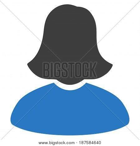 Woman flat vector pictogram. An isolated illustration on a white background.