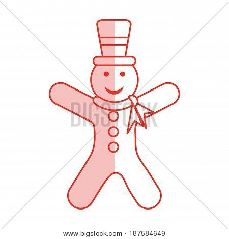 red shading silhouette of gingerbread man with scarf and hat vector illustration