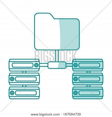 blue shading silhouette of server network and sharing folder vector illustration