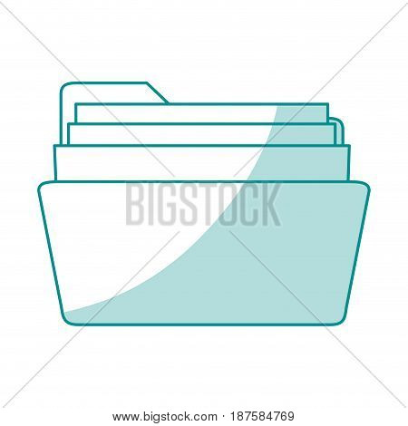 blue shading silhouette of opened folder with sheets vector illustration