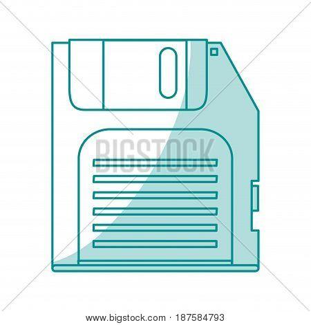 blue shading silhouette of floppy disk vector illustration