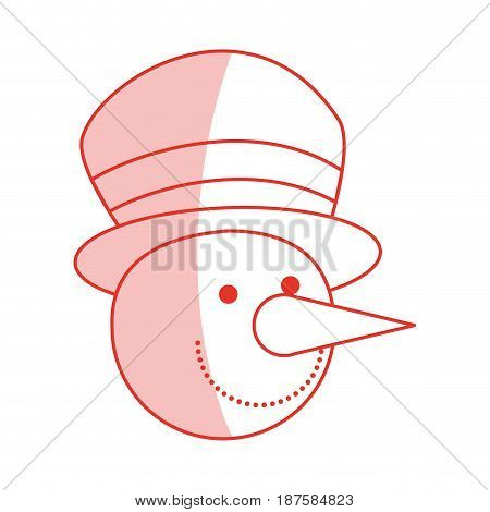red shading silhouette of face of snowman with hat vector illustration
