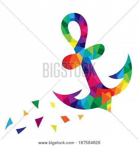 Anchor colorful polygonal illustration isolated on white background. Design element for logo label emblem sign poster t-shirt print. Vector illustration.