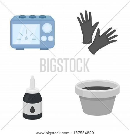 Rubber gloves, ink and other equipment. Tattoo set collection icons in cartoon style vector symbol stock illustration .