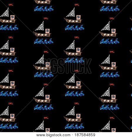 Seamless pattern with polygonal style ship isolated on the black background. Colorful boat vector background for printing on fabric paper for scrapbook gift wrap.