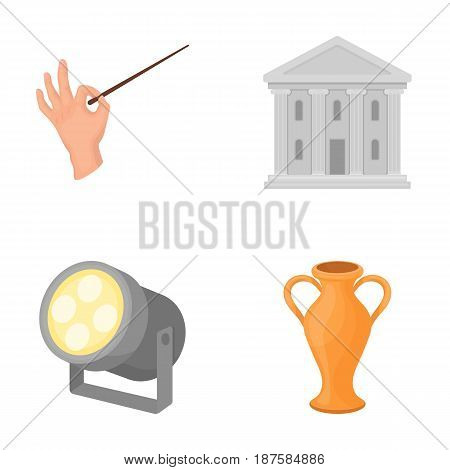 Conductor s baton, theater building, searchlight, amphora.Theatre set collection icons in cartoon style vector symbol stock illustration .