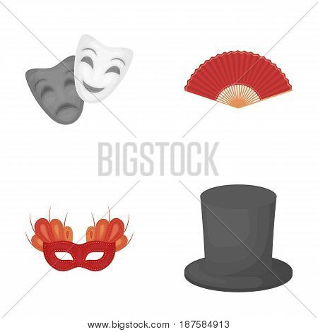 Theatrical mask, cylinder, fan, mask on the eyes. Theater set collection icons in cartoon style vector symbol stock illustration .