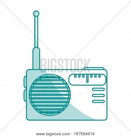 blue shading silhouette of portable radio vector illustration
