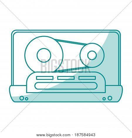 blue shading silhouette of tape cassette vector illustration