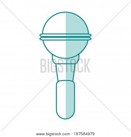 blue shading silhouette of wireless hand microphone vector illustration