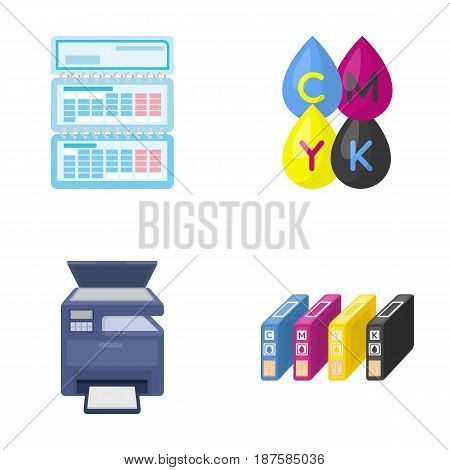 Calendar, drops of paint, cartridge, multifunction printer. Typography set collection icons in cartoon style vector symbol stock illustration .