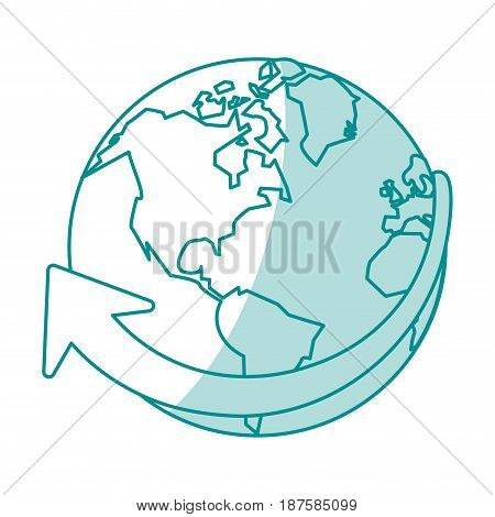 blue shading silhouette of planet earth vector illustration