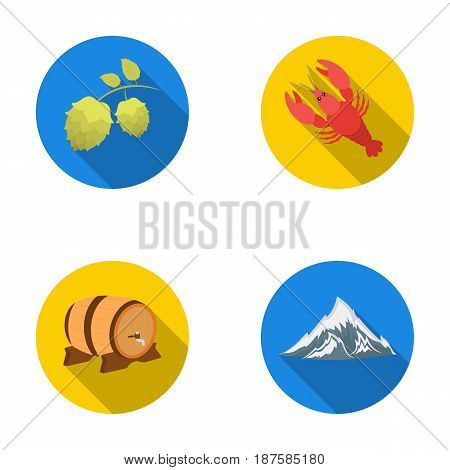 Alps, a barrel of beer, lobster, hops. Oktoberfestset collection icons in flat style vector symbol stock illustration .