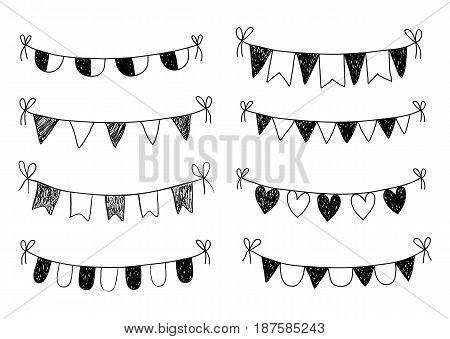 Black doodle bunting on white background with flags triangles and hearts for birthday parties and invitations
