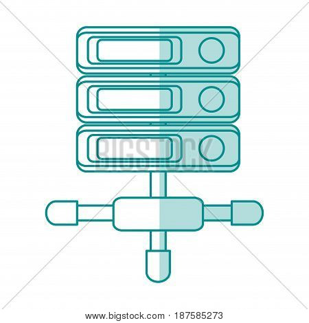 blue shading silhouette of network server with removable storages vector illustration