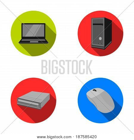 Laptop, computer mouse and other equipment. Personal computer set collection icons in flat style vector symbol stock illustration .