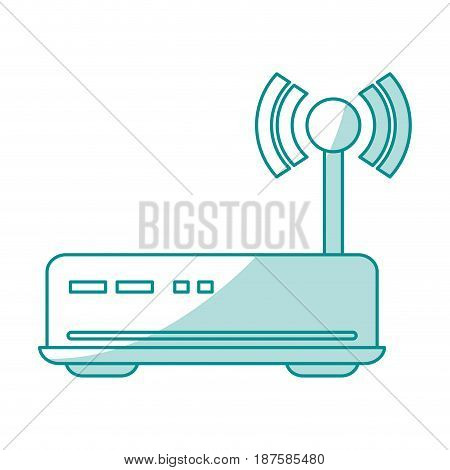blue shading silhouette of wireless router vector illustration