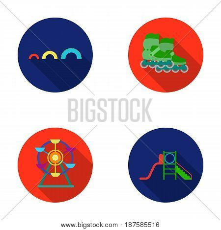 Ferris wheel with ladder, scooter. Playground set collection icons in flat style vector symbol stock illustration .