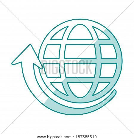 blue shading silhouette of globe earth with parallels and meridians and arrow bottom vector illustration