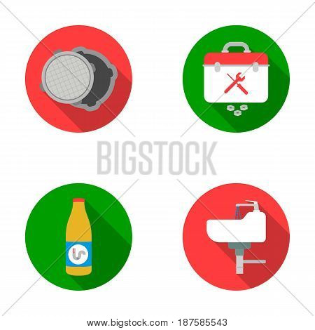 A sewer hatch, a tool box, a wash basin and other equipment.Plumbing set collection icons in flat style vector symbol stock illustration .