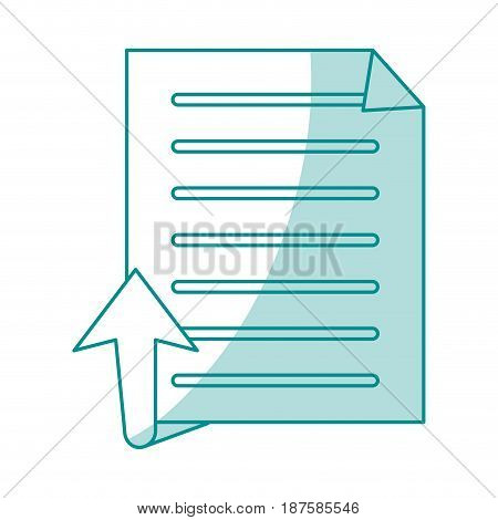 blue shading silhouette of text sheet and arrow up vector illustration