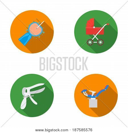 Artificial insemination, baby carriage, instrument, gynecological chair. Pregnancy set collection icons in flat style vector symbol stock illustration flat.