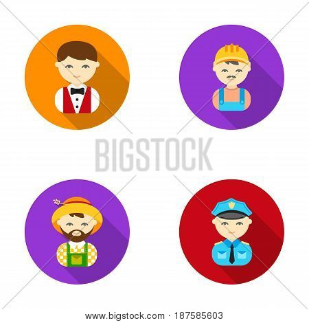 Cook, operator, fireman, artist.Profession set collection icons in flat style vector symbol stock illustration .