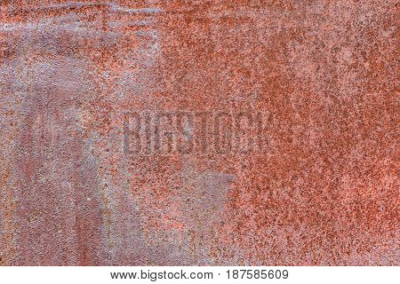 Close up of the old rust red background.
