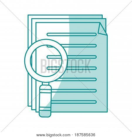 blue shading silhouette of search files with tool magnifying glass vector illustration