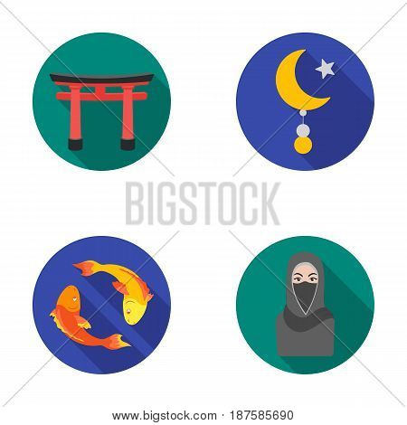 Torii, carp koi, woman in hijab, star and crescent. Religion set collection icons in flat style vector symbol stock illustration .