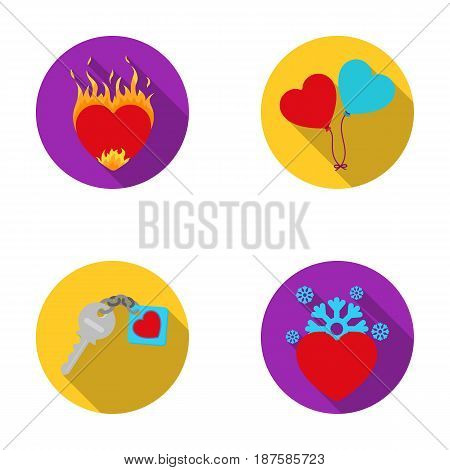 Hot heart, balloons, a key with a charm, a cold heart. Romantic set collection icons in flat style vector symbol stock illustration .