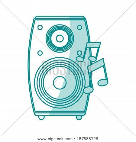 blue shading silhouette of loudspeaker in wood box vector illustration