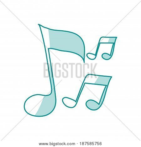 blue shading silhouette of musical notes vector illustration