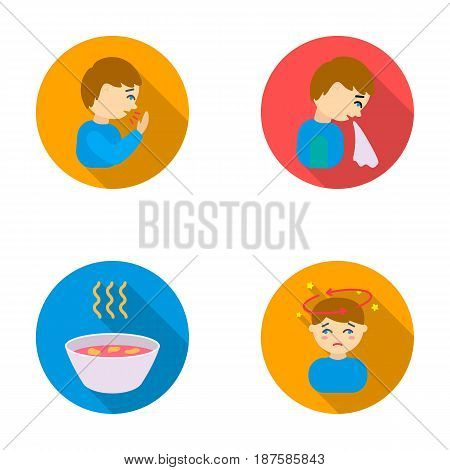 A sneezing man, a boy with a handkerchief, a patient with a headache, a hot broth, a drink in a plate, a cup. Sick set collection icons in flat style vector symbol stock illustration .