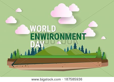 Nature Landscape World Environment Day Ecology Protection Holiday Greeting Card Flat Vector Illustration
