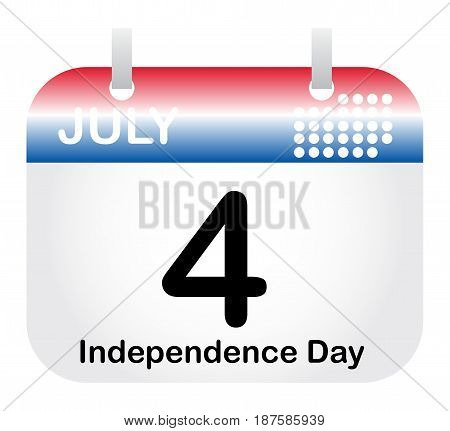 Red spiral calendar icon with the month and the date on it showing 4 July Independence Day in the United States of America. Colours of the American Flag.