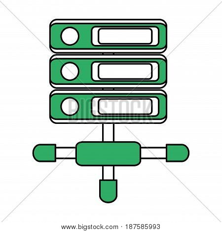 color silhouette image of network server with removable storages vector illustration