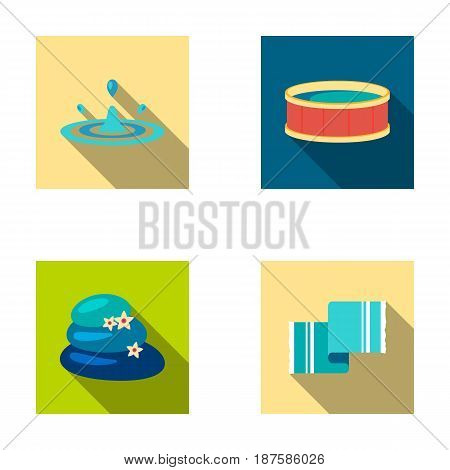 Drops of water, pool or basin with hot water, spa stones with lotus flowers, towel for the pool. Spa set collection icons in flat style vector symbol stock illustration .