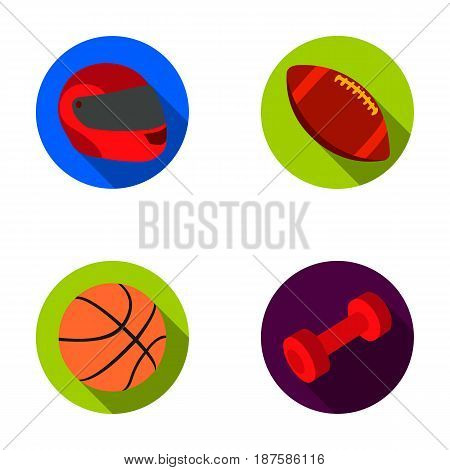Red protective helmet, rugby ball, basketball ball, dumbbells. Sport set collection icons in flat style vector symbol stock illustration .