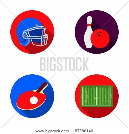 Keglie and bowling ball, protective helmet for rugby, racket and ball for playing ping-pong, field, stadium for football. Sport set collection icons in flat style vector symbol stock illustration .
