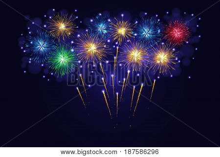 Multicolored Sparkling Fireworks