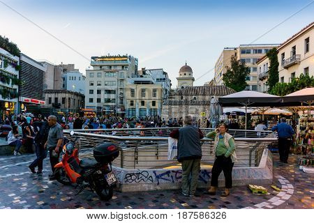 ATHENS, GREECE - May 3, 2017: Tourists on foot Graben Street in Athens.