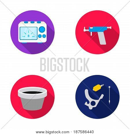 Ink, piercing machine and other equipment. Tattoo set collection icons in flat style vector symbol stock illustration .