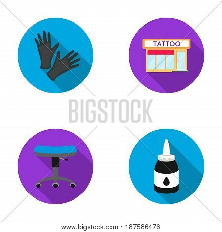 Protective gloves, salon, chair, ink. Tattoo set collection icons in flat style vector symbol stock illustration .